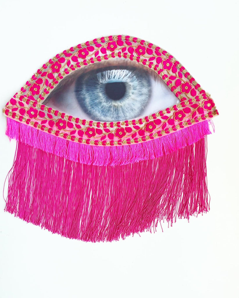 Eye Appliqué with Pink Tassels and Fringe