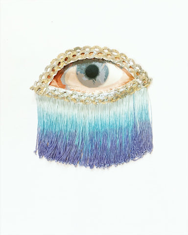Eye Appliqué with Short Blue Ombre Fringe