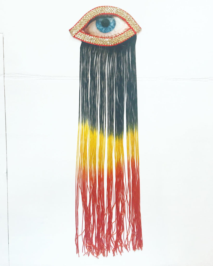Eye Appliqué with Black/Yellow/Orange Ombre Fringe