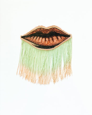 Lip Appliqué with Mint Green/ Peach Ombre Fringe