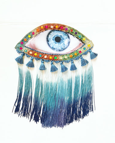 Eye Appliqué with Blue Ombre Fringe and Tassels