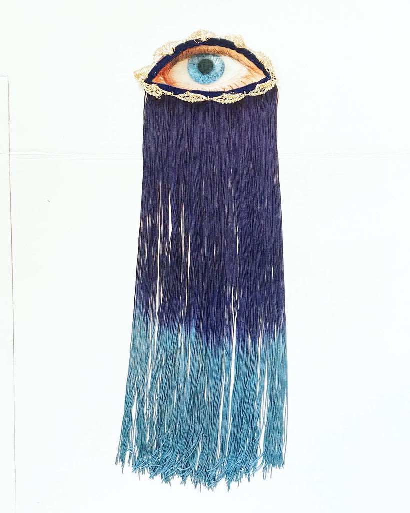 Eye Appliqué with Dark Blue Ombre Fringe