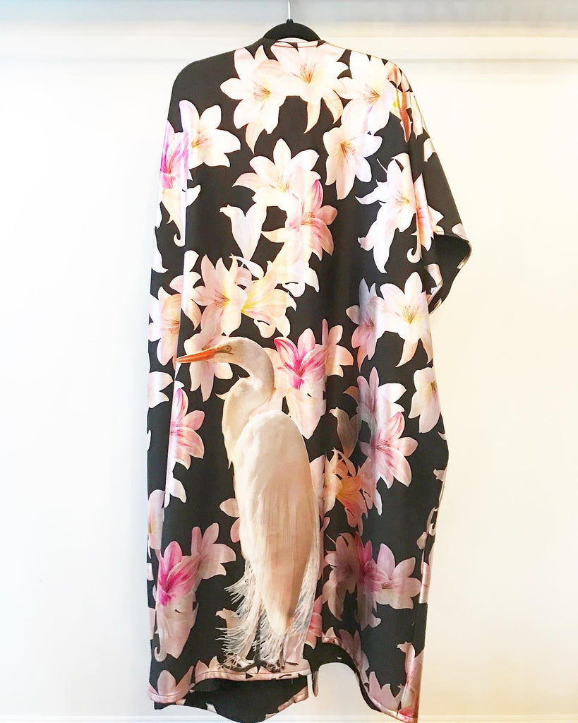 Crane and Flowers Caftan