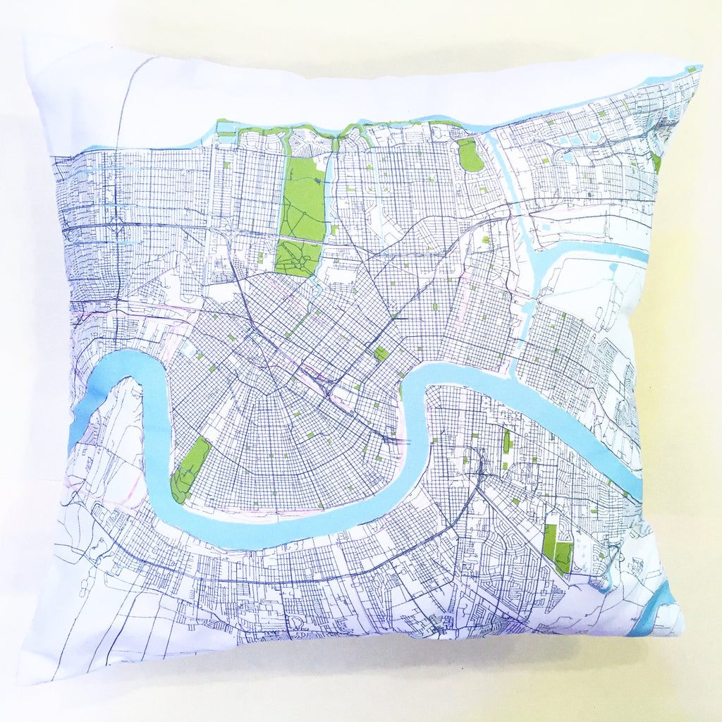 New Orleans Map Pillowcase