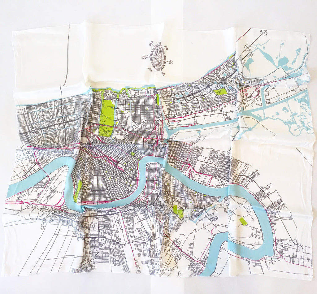 New Orleans Map Silk Scarf