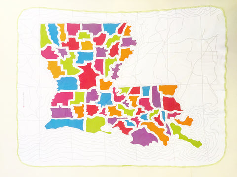 Louisiana Map Blanket- Small