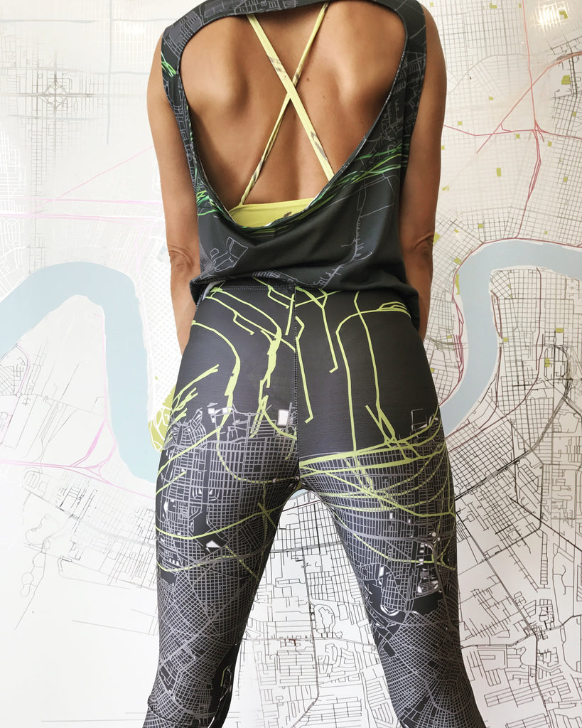 Grey/Green NOLA Map Leggings