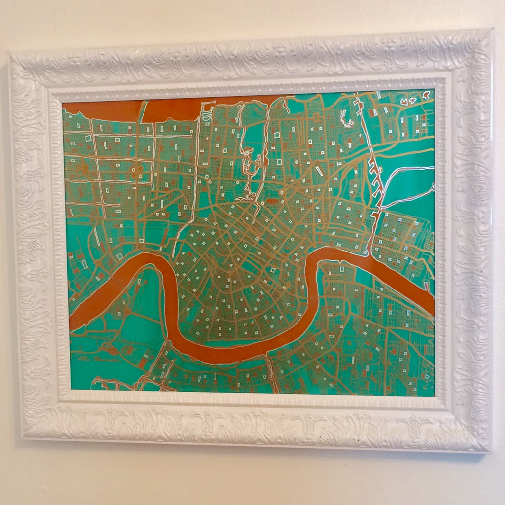 New Orleans Map With Orange