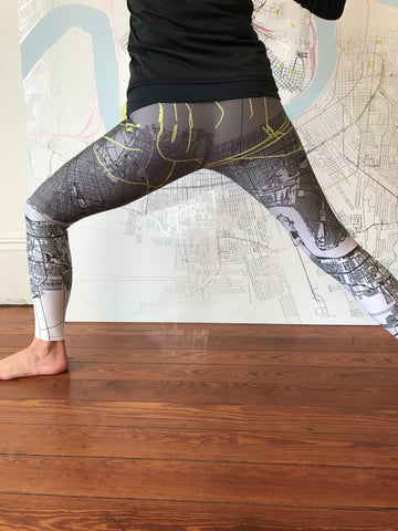 White/Green NOLA Map Leggings