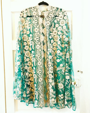 Embroidered Turquoise and Gold Cape