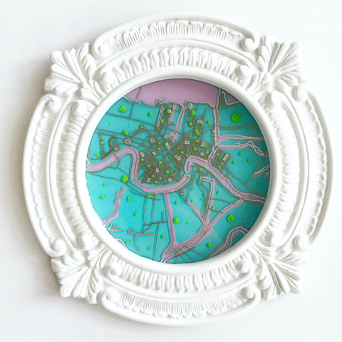 Aqua New Orleans Map with Pink Water