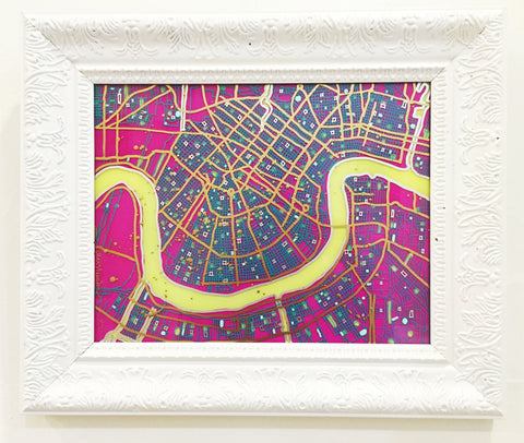 Fuchsia and Aqua/Gold NOLA Map Painting