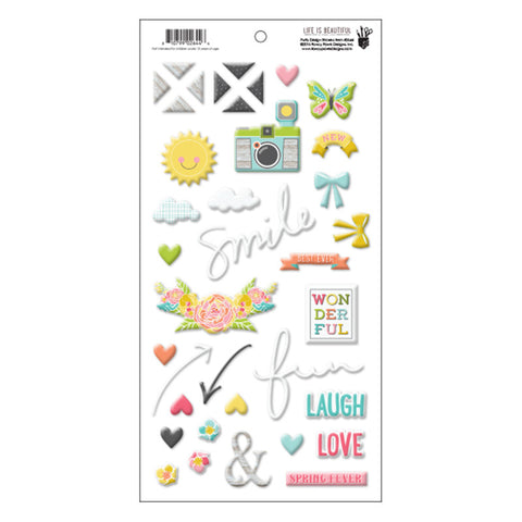 Puffy Design Stickers - Fancy Pants Life is Beautiful