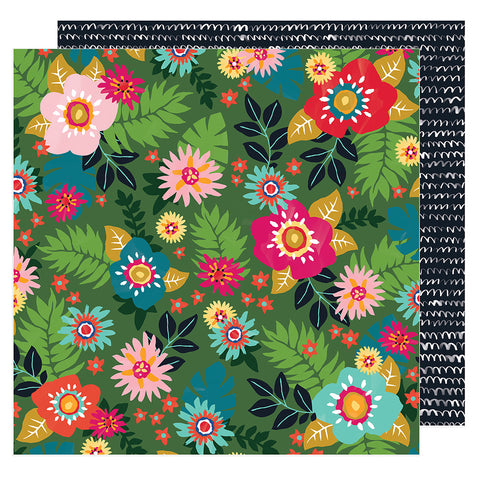 Floral Sensation 12x12 Pattern Paper - Amy Tangerine - Hustle and Heart