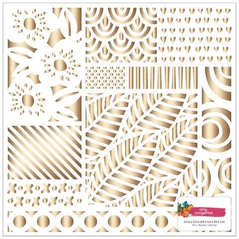 Gold Foil 12x12 Specialty Paper - Amy Tangerine - Hustle and Heart