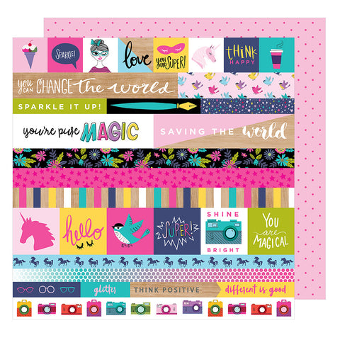 For the Win 12x12 Pattern Paper - Shimelle - Glitter Girl