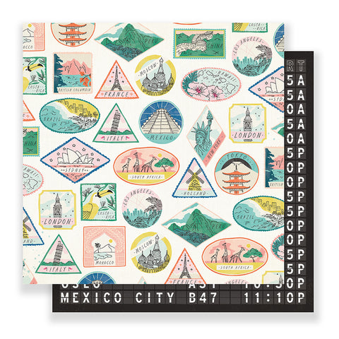 Passport 12x12 Pattern Paper - Crate Paper - Here & There