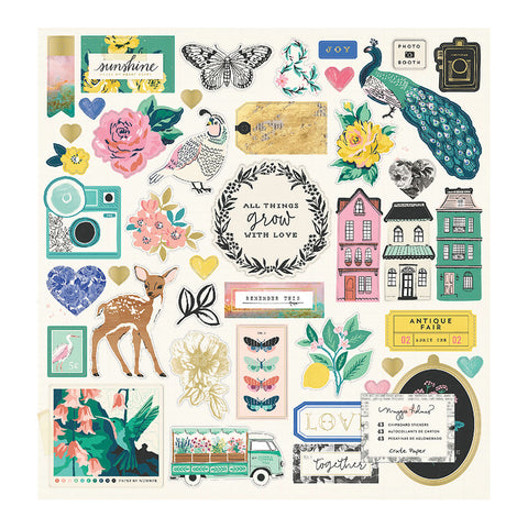 Chipboard Gold Foil Stickers - Maggie Holmes - Flourish