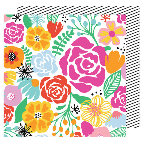 Full Bloom 12x12 Patterned Paper - Amy Tangerine - On a Whim