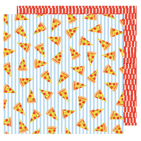 Pizza Party 12x12 Patterned Paper - Amy Tangerine - On a Whim
