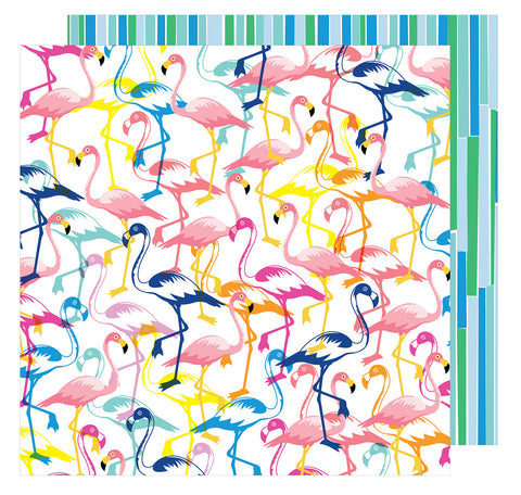 Let's Flamingle 12x12 Patterned Paper - Amy Tangerine - On a Whim