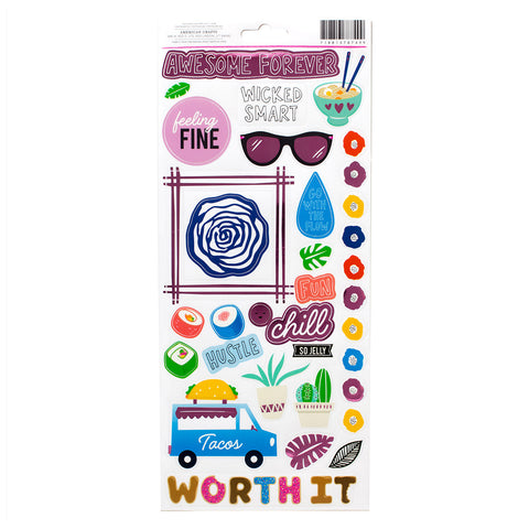 Pink Foil Acent & Phrase Stickers - Amy Tangerine - On a Whim