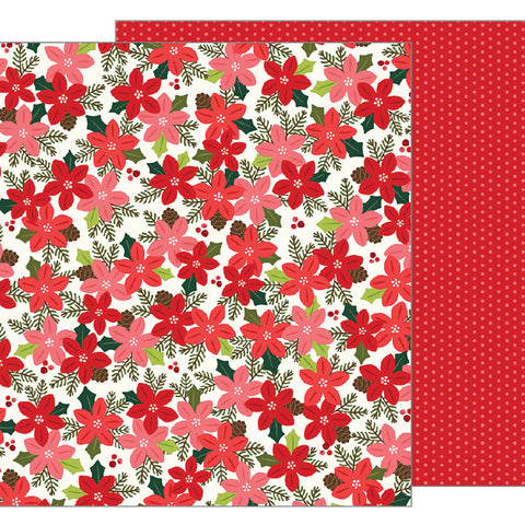 Poinsettia Blossoms 12x12 Pattern Paper - Pebbles - Merry Merry
