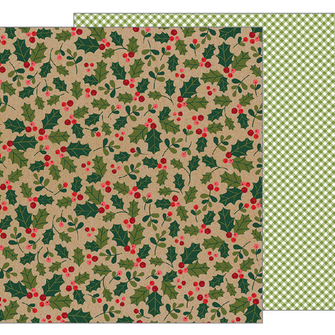 Holly Berries 12x12 Pattern Paper - Pebbles - Merry Merry