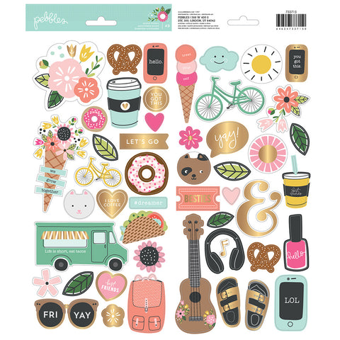 6x12 Gold Foil Stickers - Pebbles - Girl Squad