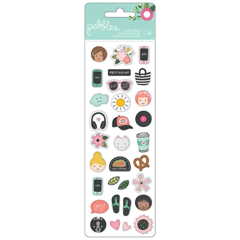 Mini Puffy Stickers - Pebbles - Girl Squad