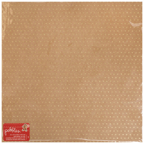 Kraft Gold Glitter 12x12 Specialty Paper - Pebbles - Merry Merry