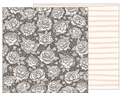 Pretty Peony 12x12 Pattern Paper - Pebbles - Jen Hadfield Heart of Home