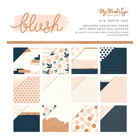 6x6 Rose Gold Foil Paper Pad - My Mind's Eye - Blush