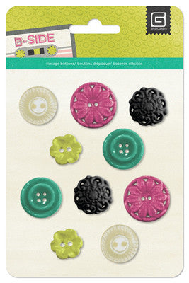 Resin Flower Buttons - Basic Grey B-Side