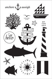 Adrift Clear Stamp Anchors Aweigh BasicGrey
