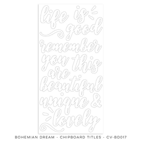 Chipboard Titles - Cocoa Vanilla - Bohemian Dream