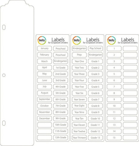 Project Life Dividers 15 PK & Labels