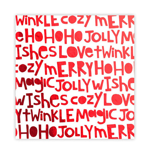 Ho Ho Ho 8x8 Red Metallic - Pretty Little Studio Holly Jolly