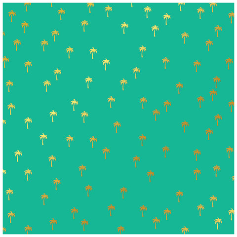 Palm Trees 12x12 Gold Foiled Pattern Paper - My Mind's Eye - Palm Beach