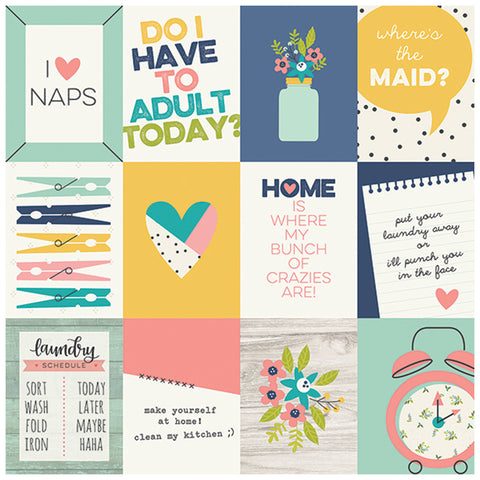 3x4 Journaling Card Elements 12x12 Patterned Paper - Simple Stories - Domestic Bliss