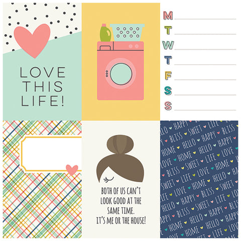 4x6 Vertical Elements 12x12 Patterned Paper - Simple Stories - Domestic Bliss