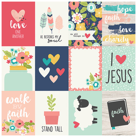 3x4 Journaling Card Elements 12x12 Patterned Paper - Simple Stories - Faith
