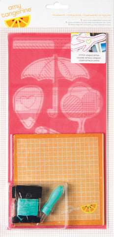 Amy Tangerine Plus One Embroidery Stencil Kit Icons