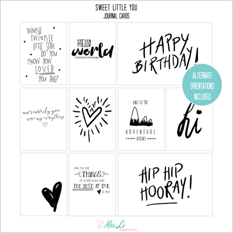 Sweet Little You Journal Cards - Mei Li Paperie