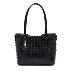 Black Crocodile Mini Tote Bag