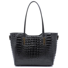 Black Crocodile Super Tote Bag