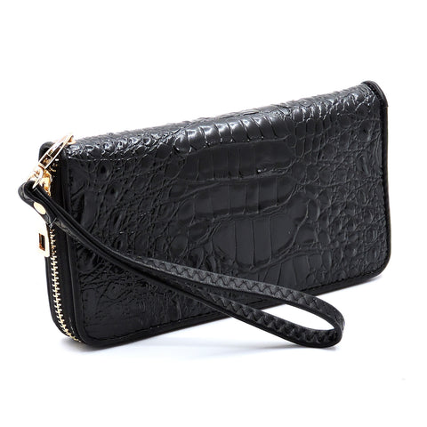 Black Crocodile Zipped Wallet