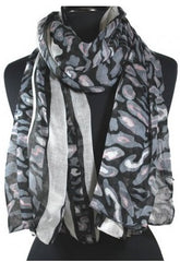Black & Gray Multi Patterned Scarf