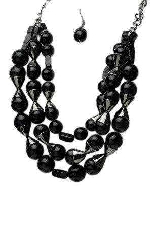 Black Layered Bead Necklace Set
