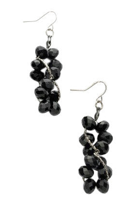 Black Spiral Beaded Earrings